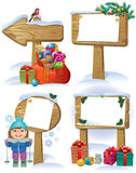 New Year wooden sign. New wooden boards signs decorations Christmas tree, gifts and toys. Contains transparent objects.Eps 10 Stock Photo