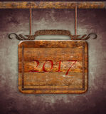 New Year 2017 wooden sign. Stock Photos
