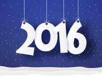 New year word hanging on threads with snow and confetti Stock Photography