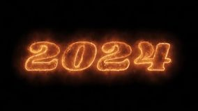 New year 2024 word hot animated burning realistic fire flame loop.