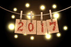 New year word in paper grunge panels. Hanging on rope by clothespin with lights vector illustration Stock Images