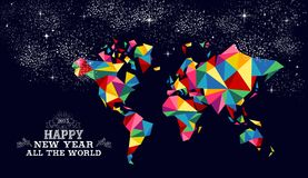New year 2015 world map card. Happy new year 2015 greeting card or poster design with colorful triangle world map and vintage label illustration. EPS10 vector Vector Illustration