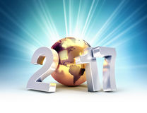 2017 New Year worldwide greetings. 2017 New Year type composed with a golden planet earth, on a shining light background - 3D illustration Royalty Free Stock Photography