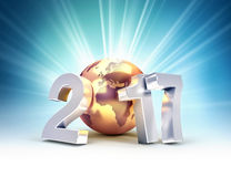 2017 New Year worldwide greetings. 2017 New Year type composed with a golden planet earth, on a shining light background - 3D illustration Stock Photos