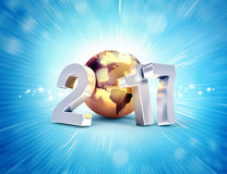 2017 New Year worldwide greetings. 2017 New Year type composed with a golden planet earth, on a shiny blue background - 3D illustration Stock Images