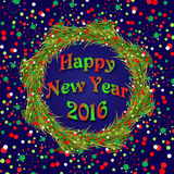 New Year wreath with colorful confetti on dark blue background Stock Photos