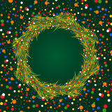 New Year wreath with colorful confetti on dark green background. New Year wreath with colorful confetti of different sizes on dark green background Royalty Free Stock Image