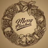 New Year wreath. Merry Christmas card. Sketch. Vector illustration EPS10. Christmas wreath. Merry Christmas. Vector illustration EPS10 Royalty Free Stock Image