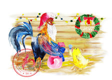 New year wreath with rooster. Cock symbol of chinese calendar 2017. Watercolor bird Royalty Free Stock Image