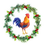 New year wreath, rooster cock - symbol of chinese calendar 2017. Watercolor bird Stock Photography