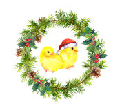 New year wreath, small cocks in red santa`s hat. Watercolor bird Stock Photos