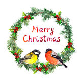 New year wreath - spruce, bullfinch and tit bird. Watercolor Royalty Free Stock Photos