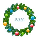 New year wreath. On a white background Stock Photos