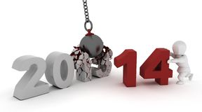 2014 new year wrecking ball Royalty Free Stock Image