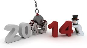 2014 new year wrecking ball Stock Image
