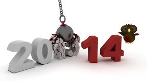 2014 new year wrecking ball Royalty Free Stock Photo