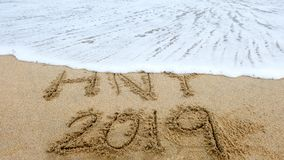 New year,2019 write on sand beach and ocean view, 2019 on the beach. royalty free stock photography