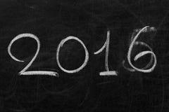2016 - New Year. 2016 written with chalk in a blackboard Stock Photo