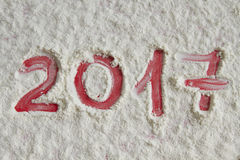 New year 2017 written on the flour background Stock Image