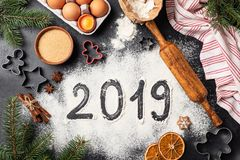New Year 2019 written on flour stock photography