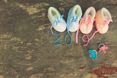 2019 new year written laces of children`s shoes royalty free stock image