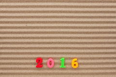 New year 2016 written in the sand Royalty Free Stock Image