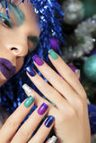 New Year's manicure and makeup. Royalty Free Stock Photography