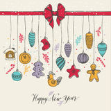 New Year& x27;s toys hand drawn style. Royalty Free Stock Image
