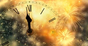 Free New Year& X27;s At Midnight - Clock At Twelve O& X27;clock With Holiday Lights And Fireworks Royalty Free Stock Images - 162344529