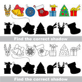 New year and Xmas collection. Find correct shadow. Stock Image