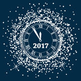 New year 2017 year clock, vector  Royalty Free Stock Images
