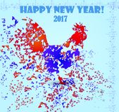 Happy New Year 2017. New Year 2017. Year of fiery cock. Image with a rooster on a light background Stock Photos