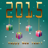 2015 New Year. S background with gift Royalty Free Stock Photo