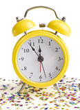 New year on a yellow alarm clock Royalty Free Stock Images