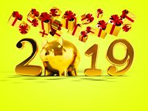 New Year 2019 yellow pig and fall yellow gifts fall from above 3. D render on yellow background with shadow vector illustration