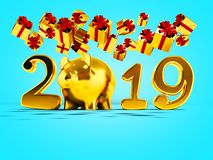 New Year 2019 yellow pig and fall yellow gifts fall from above 3d render on blue background with shadow. New Year 2019 yellow pig and fall yellow gifts fall from stock illustration