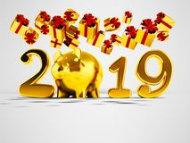 New Year 2019 yellow pig and fall yellow gifts fall from above 3. D render on gray background with shadow stock illustration