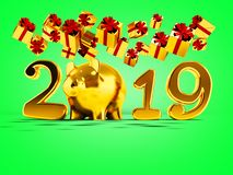 New Year 2019 yellow pig and fall yellow gifts fall from above 3. D render on green background with shadow vector illustration