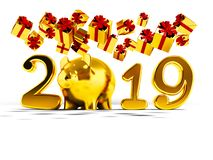 New Year 2019 yellow pig and fall yellow gifts fall from above 3. D render on white background with shadow stock illustration