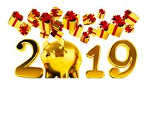 New Year 2019 yellow pig and fall yellow gifts fall from above 3. D render on white background no shadow stock illustration
