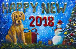New year 2018 yellow Puppy dog with gift box original painting. Merry snowman in red caps and Christmas tree. Banner symbol of new year 2018 yellow Puppy dog royalty free stock images
