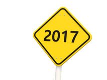 2017 New year on yellow road sign. Stock Image