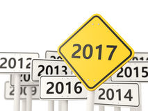 2017 New year on yellow road sign. Royalty Free Stock Photography