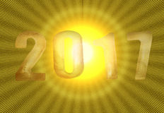 New Year 2017 with yellow shiny background Stock Images