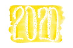 New year 2020 - Yellow watercolor lettering vector illustration