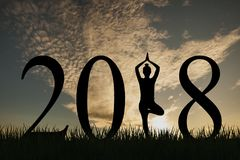 New year 2018 yoga concept woman pose. New year working Royalty Free Stock Photo