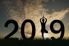New year 2019 yoga concept woman pose. New year concepts stock image