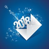 New Year 2018 your greeting mail firework blue background. New Year 2018 your greeting mail stardust firework sparkle blue background vector Stock Images