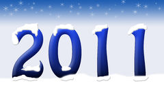 New Years. The year 2011 on a blue background, new years vector illustration