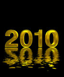 New years 2010 reflection water. Fine 3d image background Stock Photography